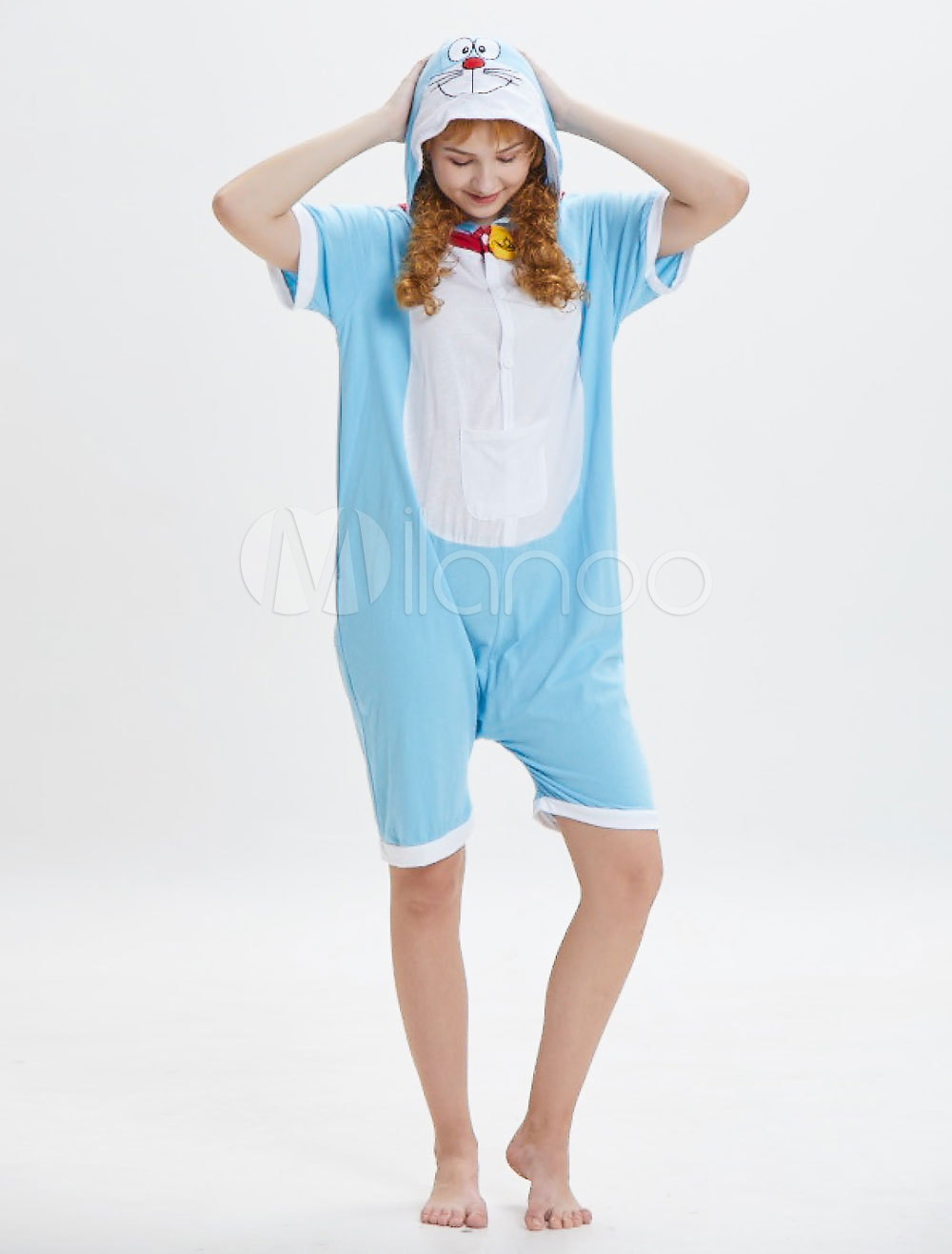 0fc9fa0a4dd Doraemon Onesie Kigurumi Pajamas Adult Blue Short Jumpsuits Unisex Hooded  Animal Sleepwear Halloween