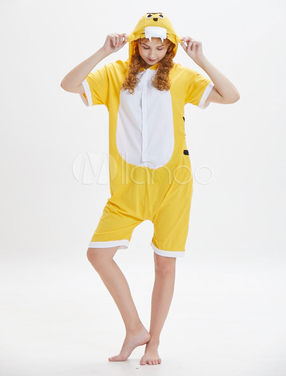 4c8d042ee813 Tiger Kigurumi Pajamas Onesie Adults Yellow Short Jumpsuits Unisex ...