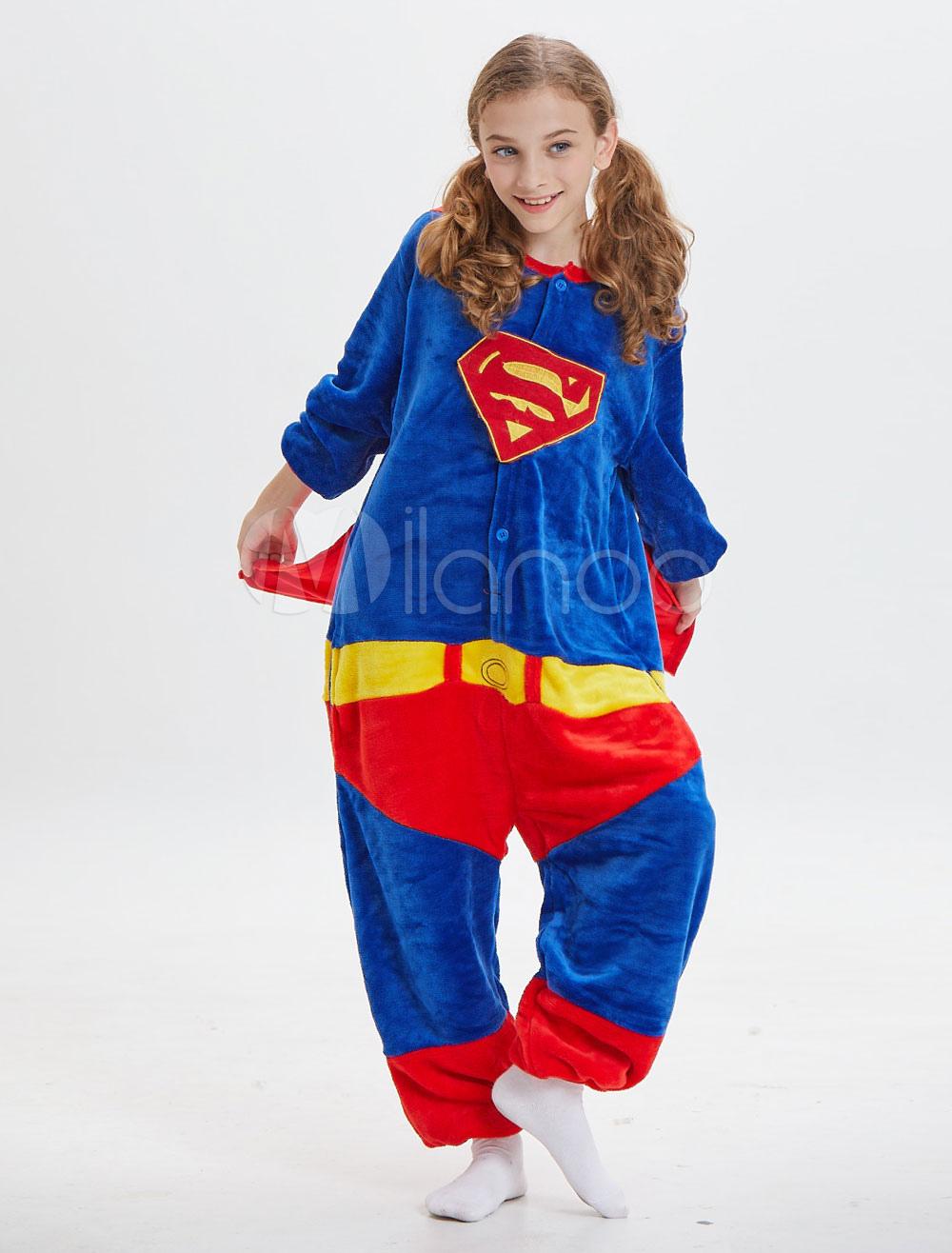 9d00f3c2b1ba6 Kids Superman Kigurumi Onesie Pajamas Deep Blue Flannel Long ...