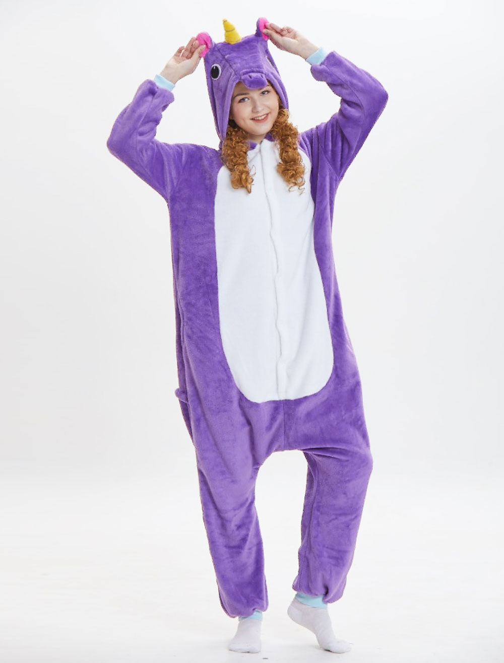 f6743716b ... Unicorn Kigurumi Onesie Pajamas Adults Flannel Purple Hooded Long  Sleeve Jumpsuits Unisex Animal Sleepwear Halloween-. 12. 30%OFF. Color :Purple