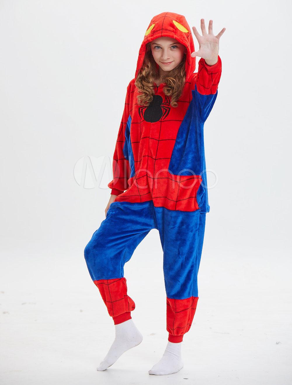 8e6767af8756 Kids Spiderman Kigurumi Onesie Pajamas Red Hooded Jumpsuits Long ...