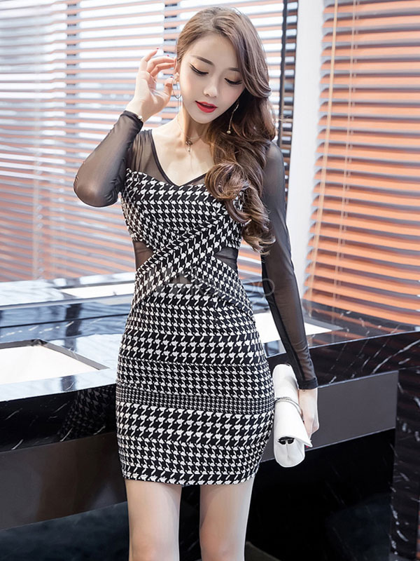 Buy Black Bodycon Dress V Neck Party Dress Long Sleeve Plaid Shaping Mini Dress for $26.99 in Milanoo store