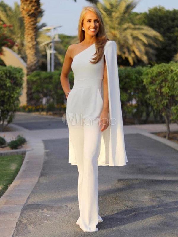 Women Evening Jumpsuit Cape Shoulder Long Sleeve Asymmetrical Long