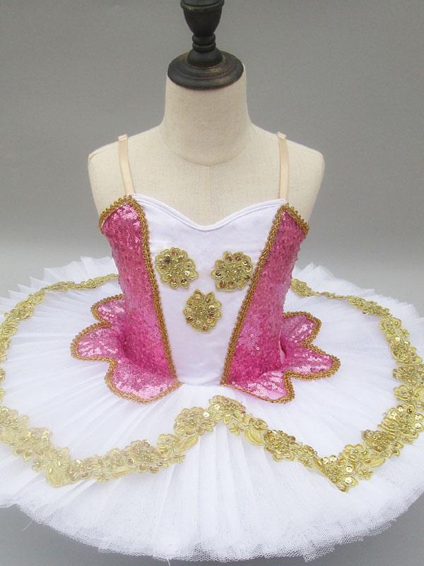 29d9ef160 Ballet Dance Dress Pink Sequin Straps Dress Girls Tutu Ballerina ...