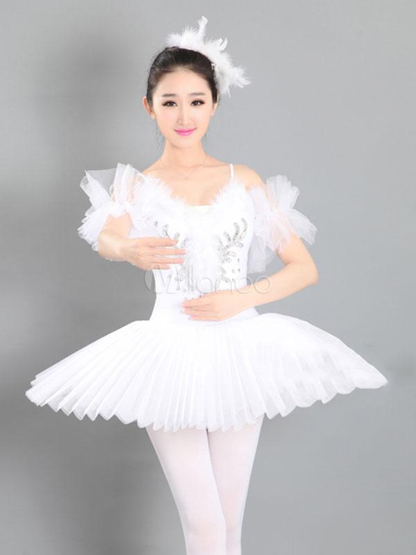 Vestidos De Ballet Blanco Con Lentejuelas De Plumas Vestidos De Bailarina Con Tutú Plisado