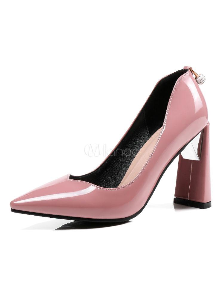 c7a7cfc9fa45 Mujeres Tacones altos Puntiagudos Perlas Rhinestones Bloque Tacones Zapatos  de vestir de color rosa