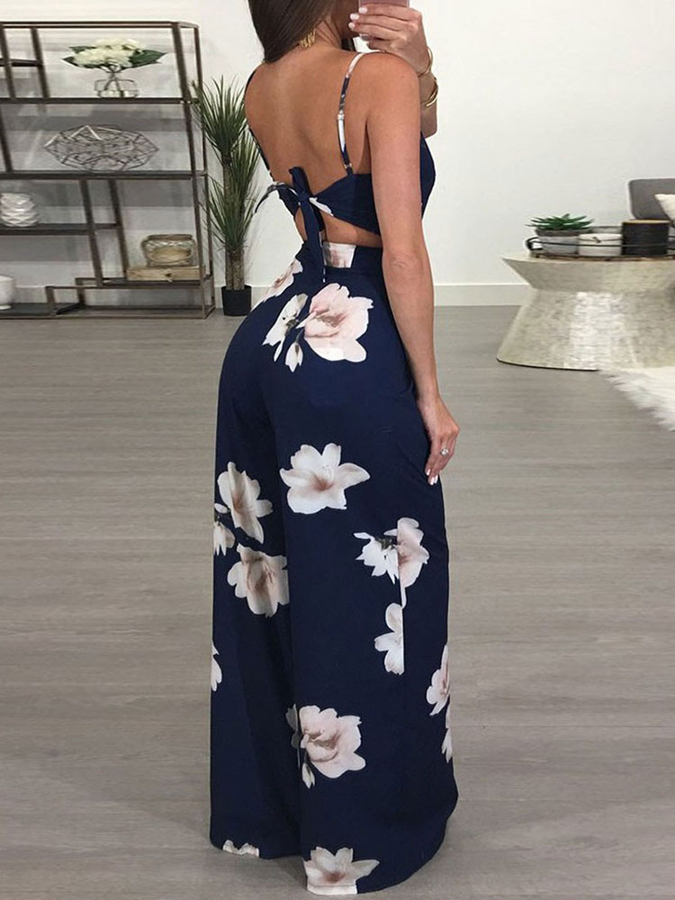 9761203c687a ... Wide Leg Jumpsuit Floral Backless Straps Knotted One Piece Jumpsuit For  Women-No.2