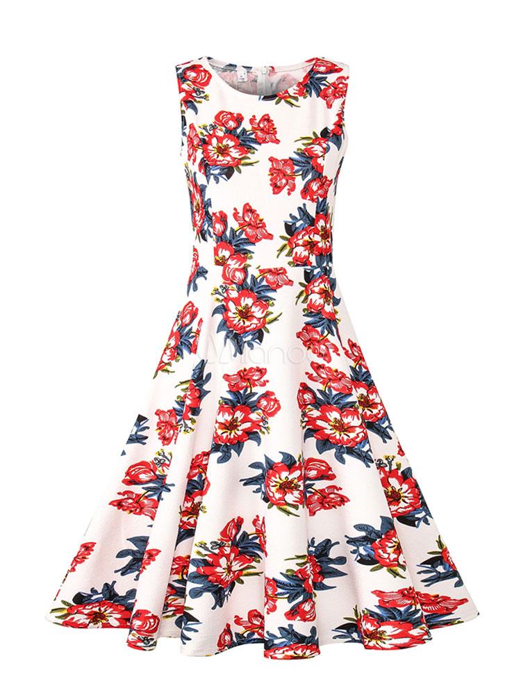 71116d2a943 Women Vintage Dress 1950s Floral Print White Summer Dress Sleeveless Swing  Dress-No.1 ...