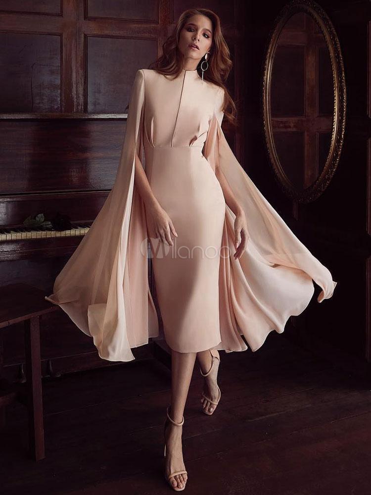 cc5d57e16d Pink Party Dress Cape Shoulder Cocktail Dress Long Sleeve Split Pencil Dress-No.1  ...