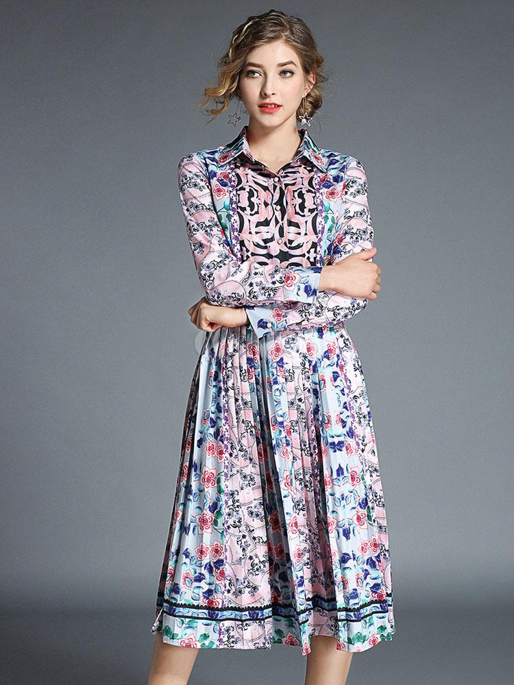 c8721d8e6e9 Chiffon Shirt Dress Long Sleeve Turndown Collar Printed Front Button  Pleated Midi Dress-No.