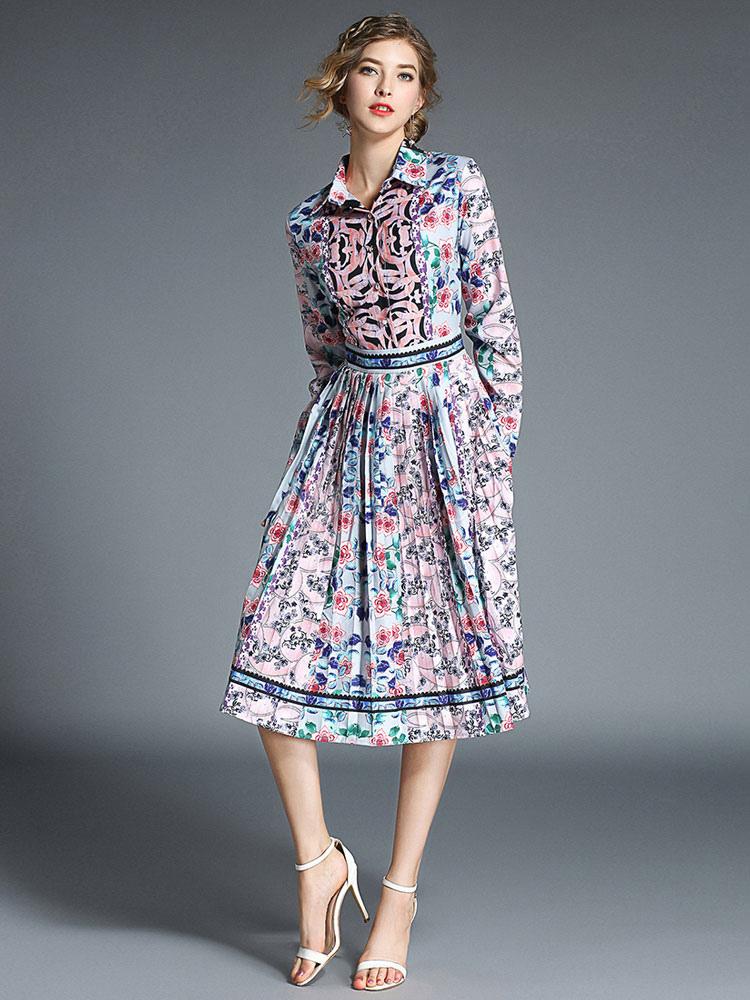 6ef3de4024f Chiffon Shirt Dress Long Sleeve Turndown Collar Printed Front Button Pleated  Midi Dress-No.