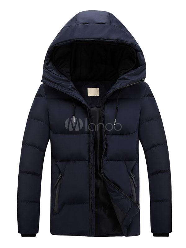 detailed look cb33b de052 Cappotto con piumino da uomo Cappotto con cerniera con cappuccio Cappotto  invernale con maniche lunghe aderenti blu scuro aderente