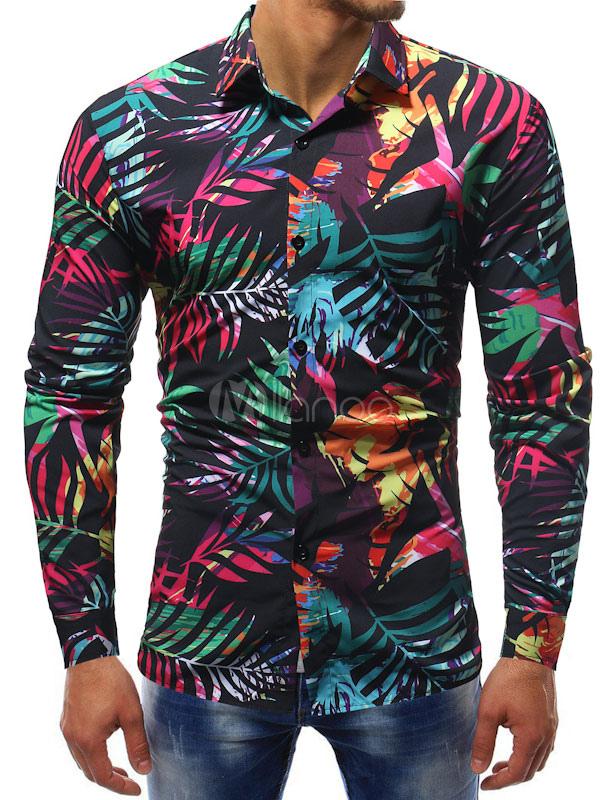 adecuado para hombres/mujeres estilo popular alta calidad Camisa de hombre negra Camisa de manga larga con estampado tropical Camisa  de manga larga con estampado tropical
