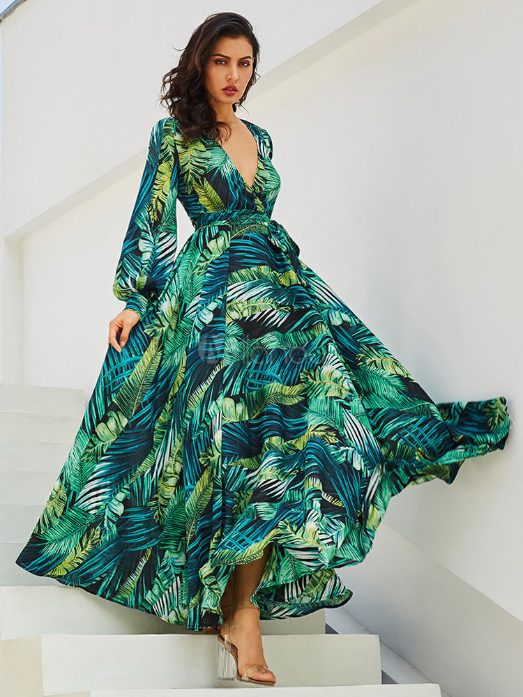 Vestidos Largos De Gasa Con Cuello En V Vestido Tropical Vestido De Otoño Con Estampado De Hojas