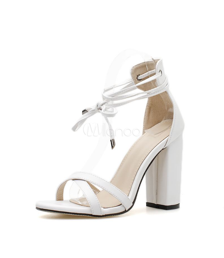 ed03383c2 Sapatos de Salto Grosso Branco Strappy Tie Leg Mulheres Sandálias de Salto  Alto-No.