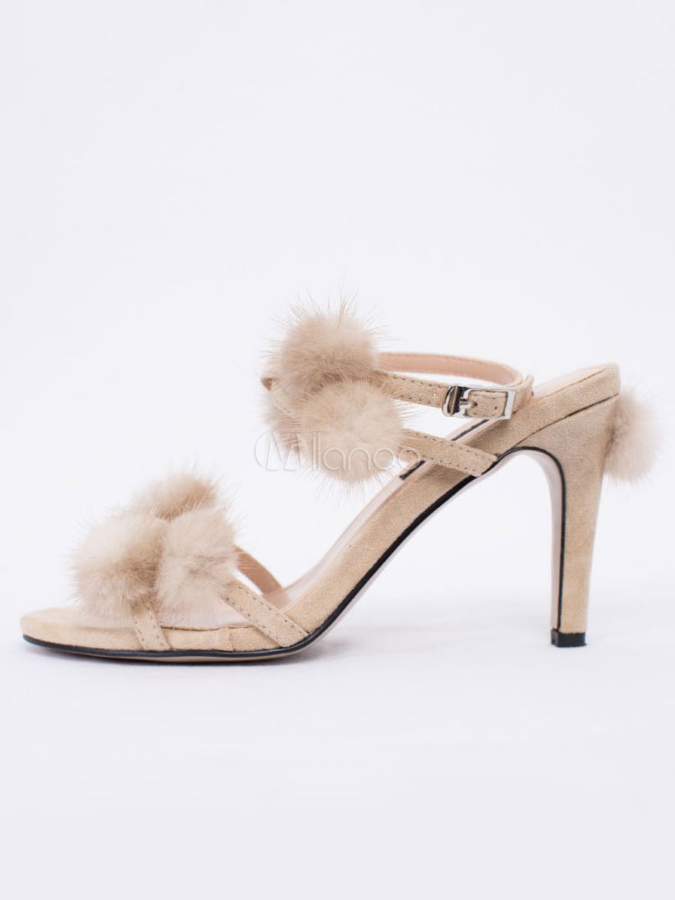5beb64c8301 Women Suede Sandals Pom Pom Strappy Stiletto High Heel Sandal Shoes-No.1 ...