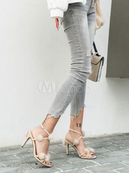 c3566a4b53f ... Women Suede Sandals Pom Pom Strappy Stiletto High Heel Sandal Shoes-No.3