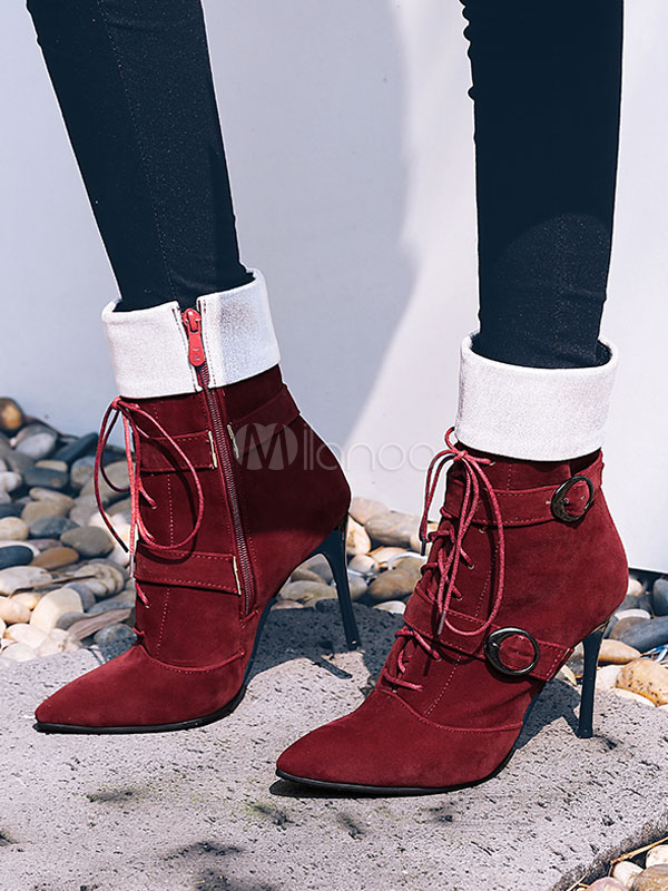16b4145f4ae Women Suede Boots Pointed Toe Patchwork Metallic Buckle Lace Up ...