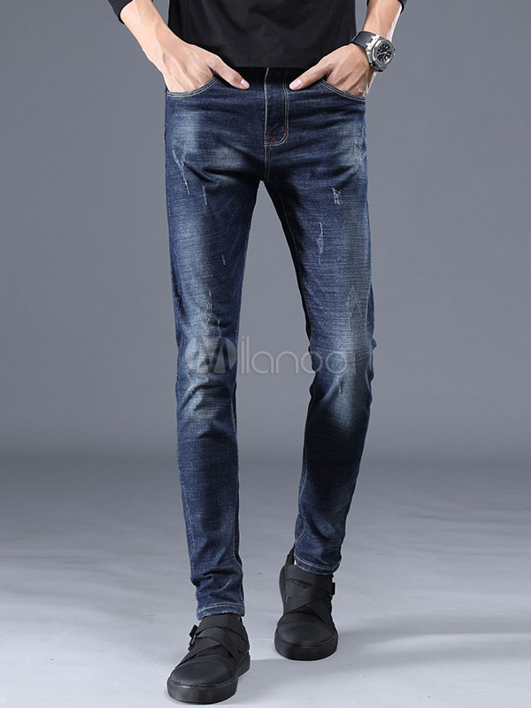 Buy Blue Men Jeans Distressed Straight Leg Denim Jean for $32.29 in Milanoo store