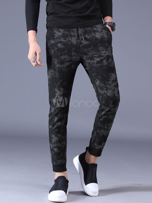 Buy Tapered Fit Pant Print Cotton Black Casual Pant For Men for $33.14 in Milanoo store