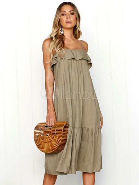 0cd625275337 Robe droite à bretelles femmes volants en lin kaki - Milanoo.com
