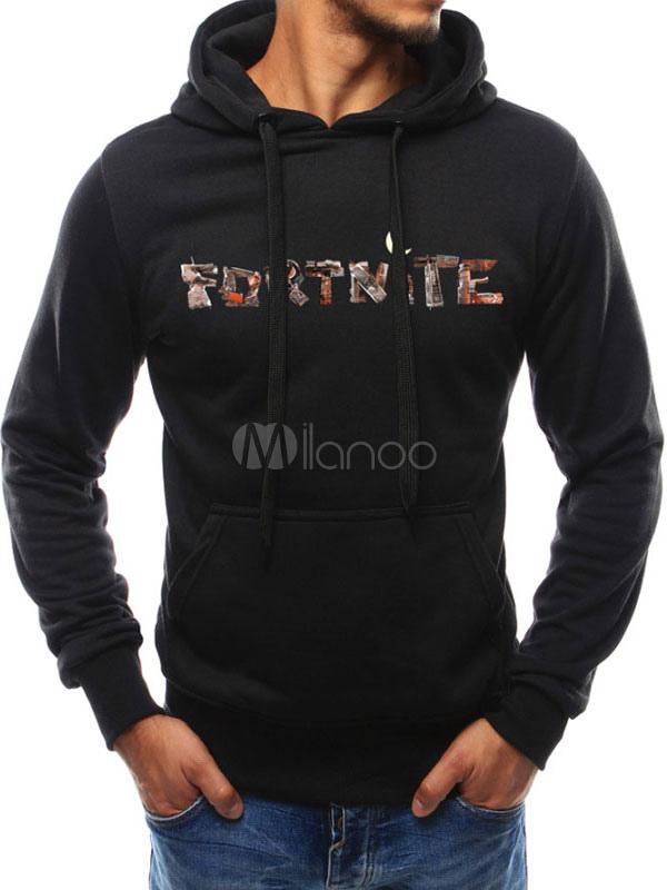 b05084c56c5 Men Pullover Sweatshirt Plus Size Fortnite Hoodie Letter Print Hooded Long  Sleeve Casual Hoodie-No ...
