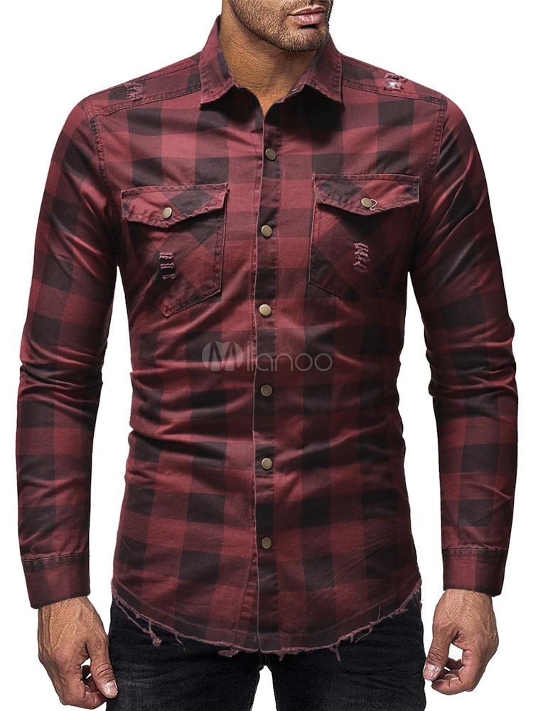 ba7ac8ebf0c Men Denim Shirt Plaid Ragged Hem Distressed Pocket Slim Fit Long Sleeve  Casual Shirt-No ...