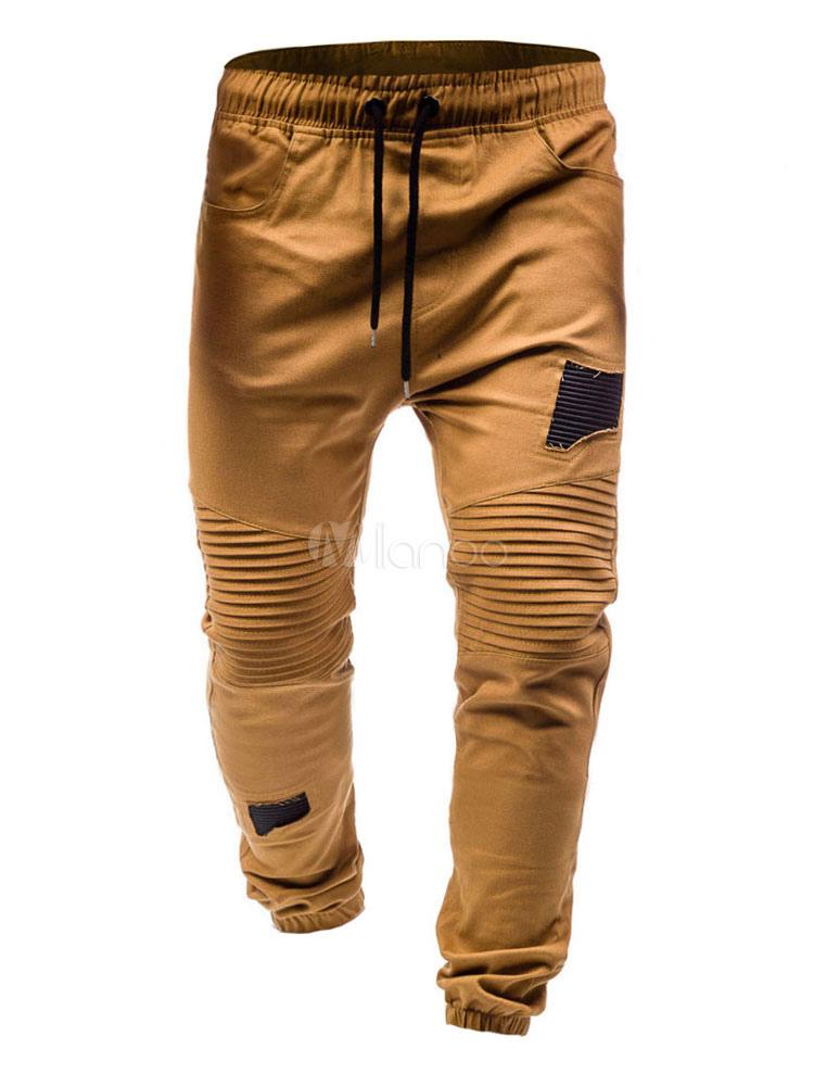 Pantalones Estrechos De Chandal 2021 Fruncido De Retales Hombre Caqui Pantalones Cierre De Cordel Casual Pantalones De Algodon Milanoo Com