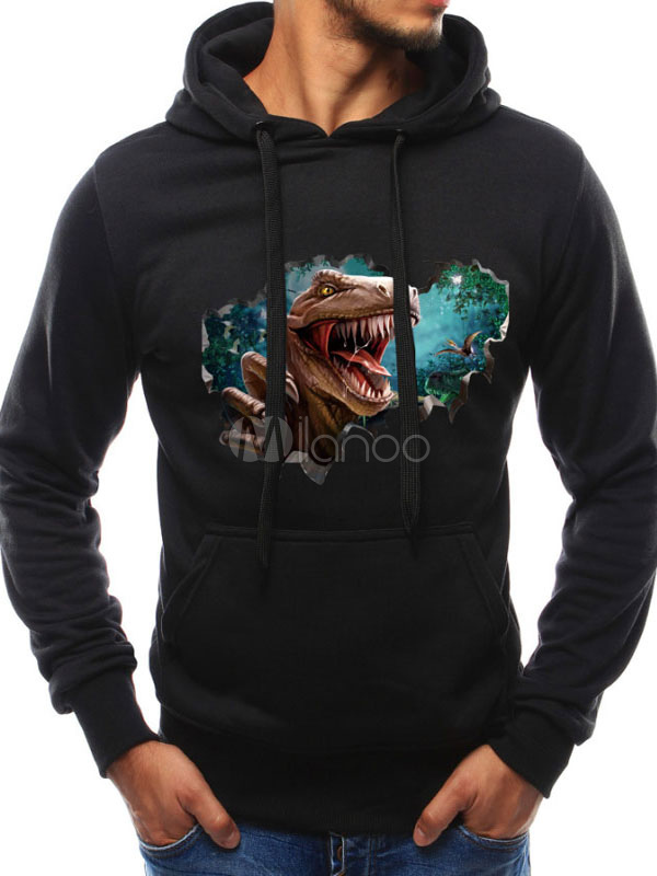 6566e5a4 Men Casual Sweatshirt Plus Size Graphic Print Navy Blue Slim Fit Long  Sleeve Pullover Hoodie- ...