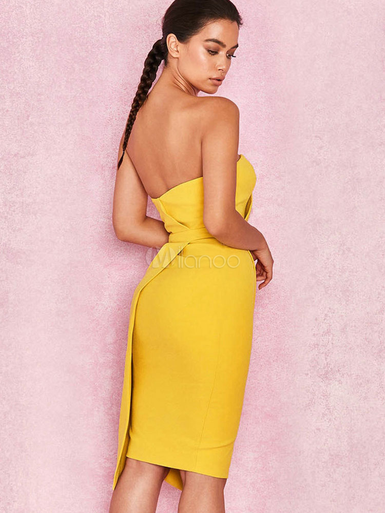 cf9f909b92 Vestito Sexy Aderente 2019 Vestito Longuette Giallo Vestito Longuette Senza  Spalline
