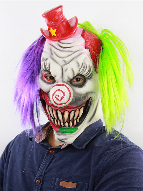 f607a5e79 Clown Mask Scary Halloween Funny Latex Horror Cosplay Costume  Accessories-No.1 ...