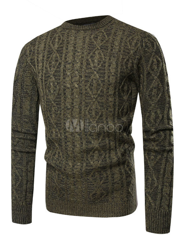 f64ccb3f2ea Men Knit Sweater Hunter Green Cable Knit Long Sleeve Pullover Sweater