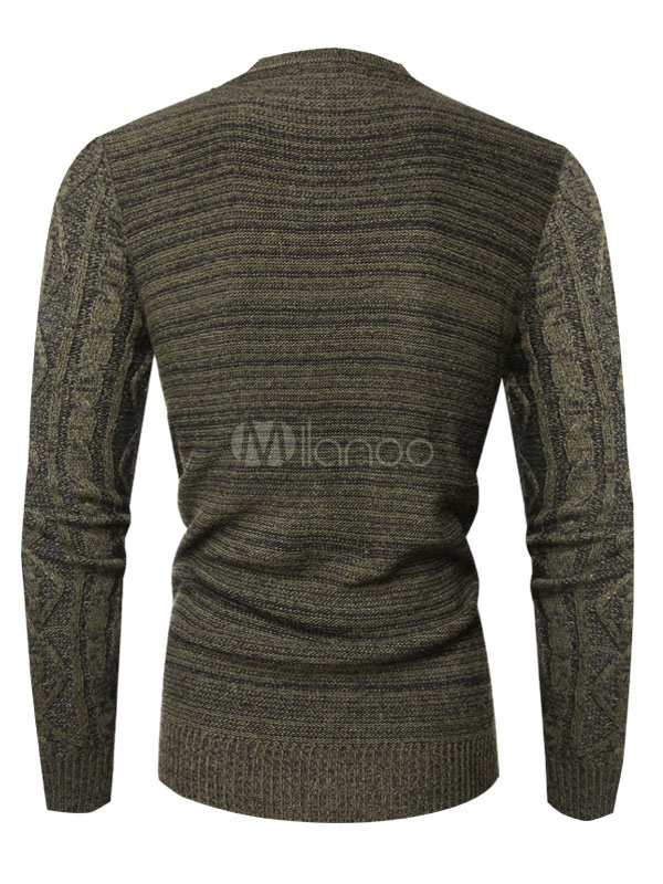 Men Knit Sweater Hunter Green Cable Knit Long Sleeve Pullover