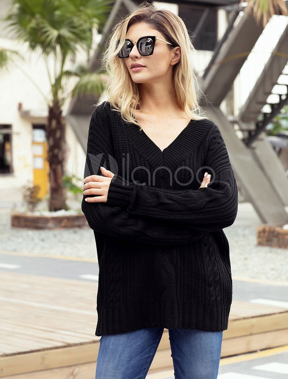 Buy Women Casual Sweater Long Sleeve V Neck Cable Knitted Jumper for $25.49 in Milanoo store