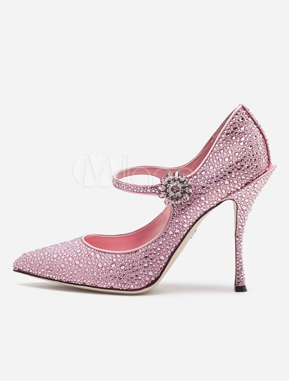 0123265bdd4a Women Mary Jane Shoes Satin Pointed Toe Rhinestone Pink Party Shoes ...