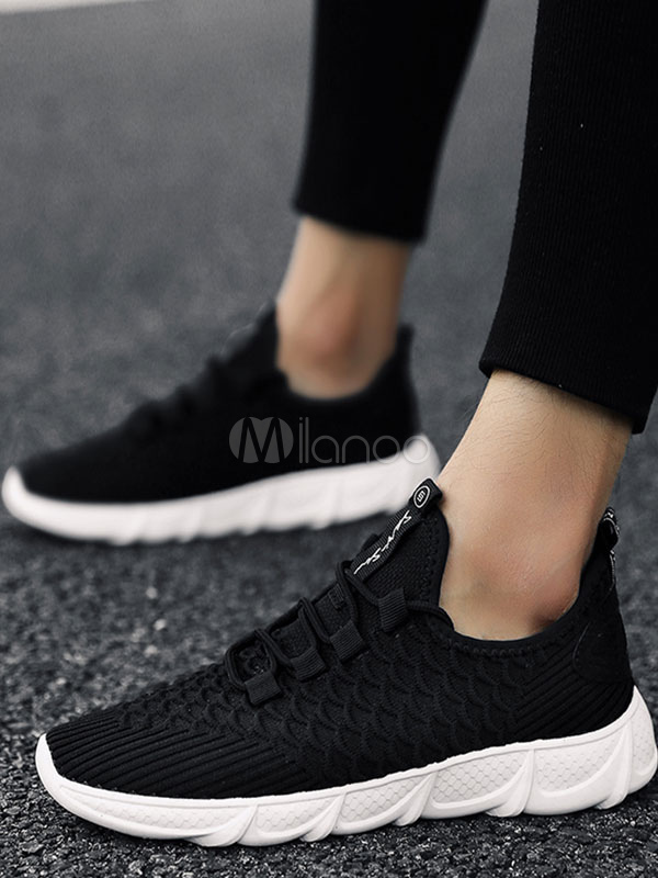 ... Black Men Sneakers Knit Wool Round Toe Lace Up Casual Sport Shoes-No.3 5513aefdef1