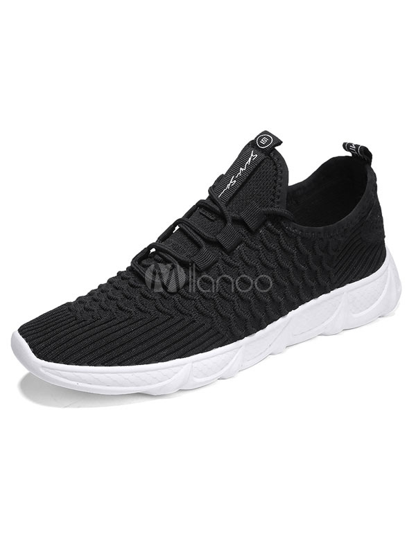 Black Men Sneakers Knit Wool Round Toe Lace Up Casual Sport Shoes-No.1 ... 436eeccd127