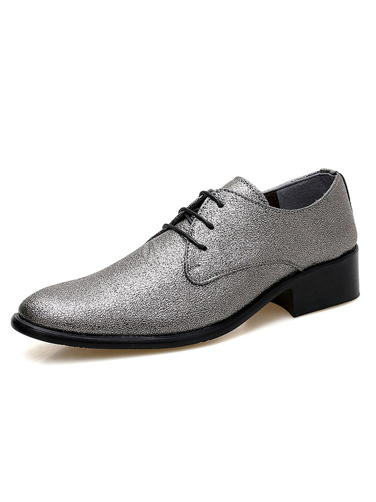 Men Dress Shoes Pointed Toe Loafers Glitter Lace Up Prom Shoes