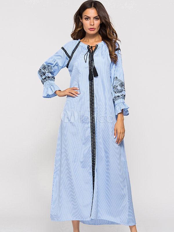 4a6db72b8 فستان ماكسي أزرق مخطط فستان شيفون كم قصير - Milanoo.com