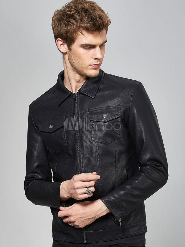 db28c7a1b460 Veste en cuir noir col rabattable poche zippée veste aviateur hommes veste  en cuir-No ...