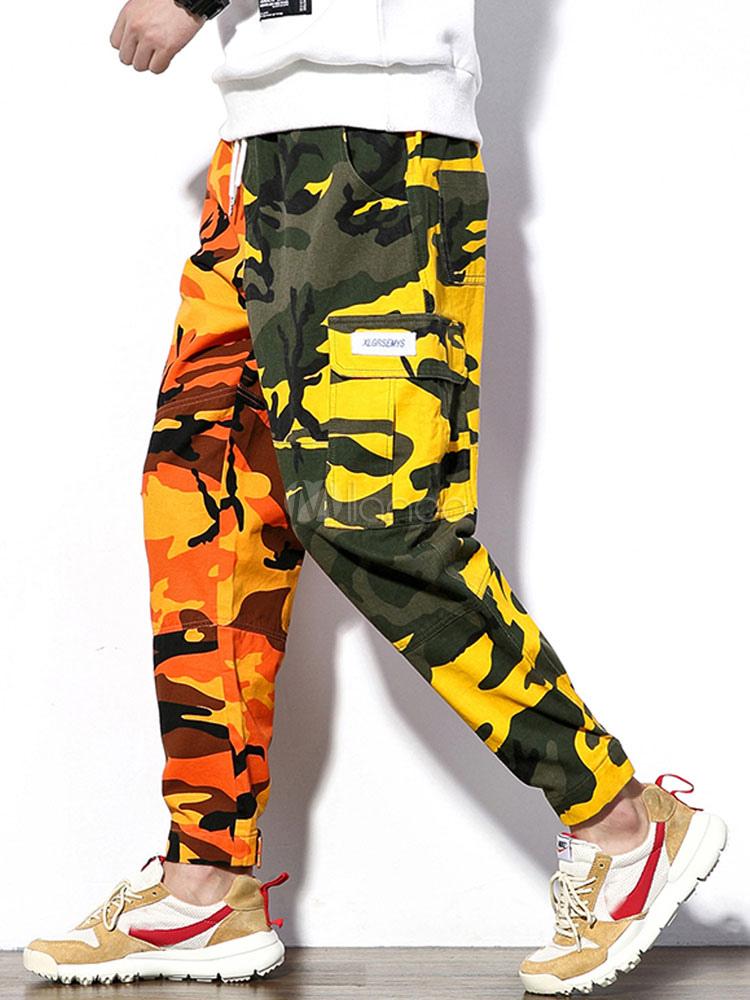 abfa154f70ad10 Men Casual Pant Plus Size Camo Print Loose Leg Drop Crotch Harem Pant-No.