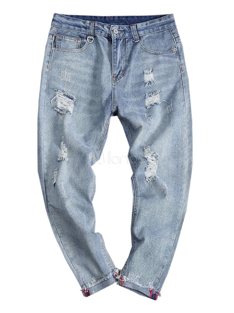 d3d0c0d3254af ... Men Ripped Jeans Plus Size Destroyed Blue Denim Jean Tapered Fit Jeans -No.4