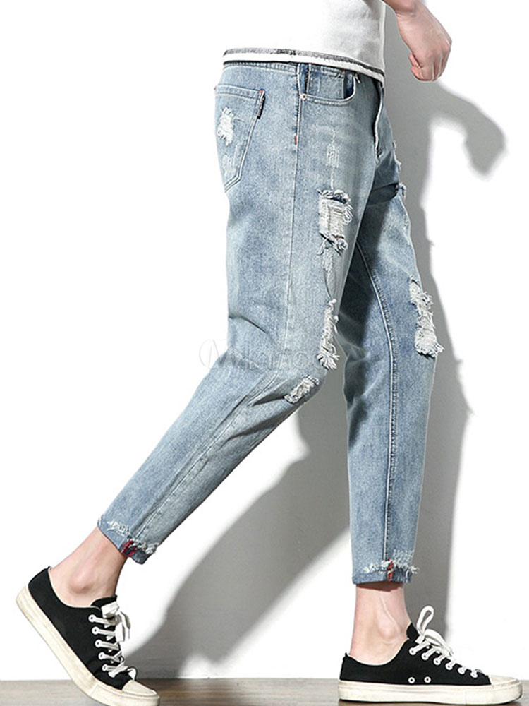 4a72f98d9329e ... Men Ripped Jeans Plus Size Destroyed Blue Denim Jean Tapered Fit Jeans-No.2  ...