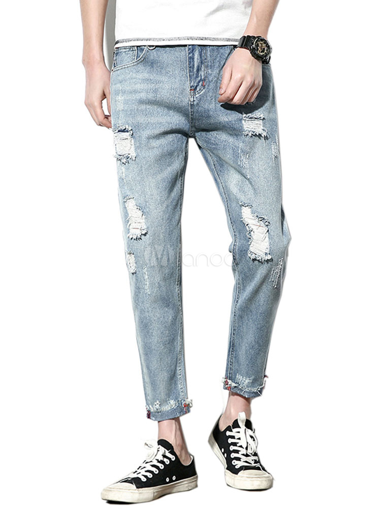 b000d8b2e2184 Men Ripped Jeans Plus Size Destroyed Blue Denim Jean Tapered Fit Jeans-No.1  ...