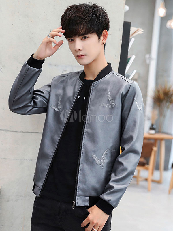 0f31c7e0b0a7d Men Leather Jacket Embroidery Plus Size PU Bomber Jacket Zipper Stand  Collar Biker Jacket-No ...