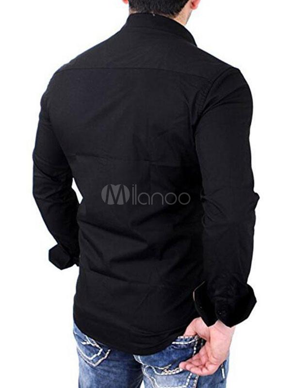 half off 3ddbe aacec Camicia Uomo 2019 Nera Camicia Casual Bicolore Manica Lunga Slim Fit