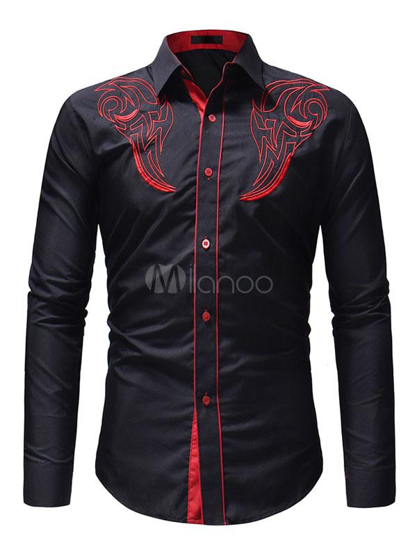 499b3f444fb Черная мужская рубашка с вышивкой хлопка Slim Fit с длинным рукавом  повседневная рубашка-No.