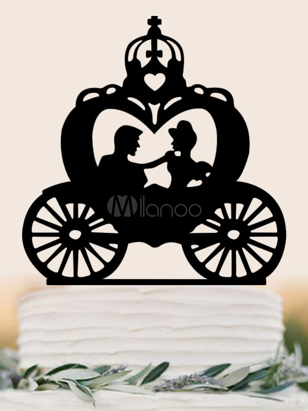 Wedding Cake Toppers Black Carriage Party Decorations