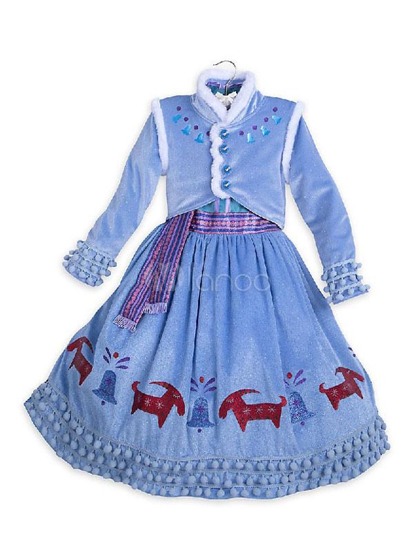 Kinder Halloween Kostüm blau Mädchen gedruckt Halloween Party Kleid ...
