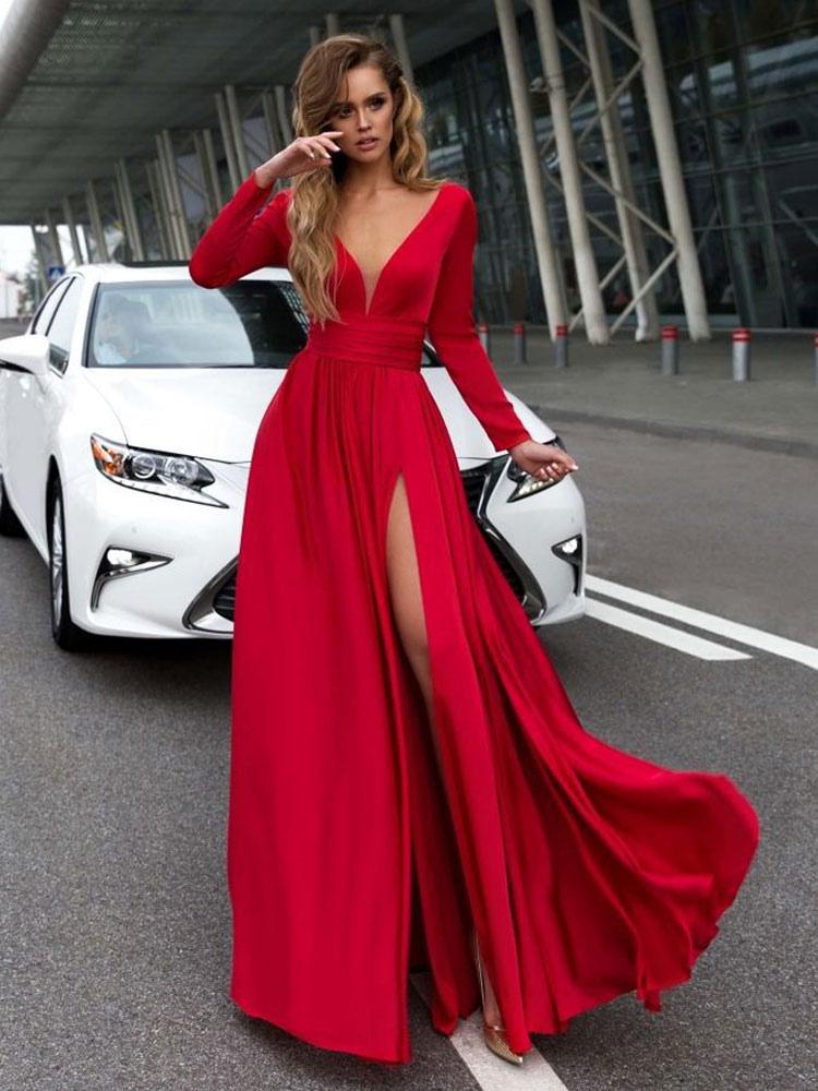 Vestidos Largos De Mangas Largas Escote En V Vestidos Rojo Con Abertura En Forma De Escote En V Para Mujer